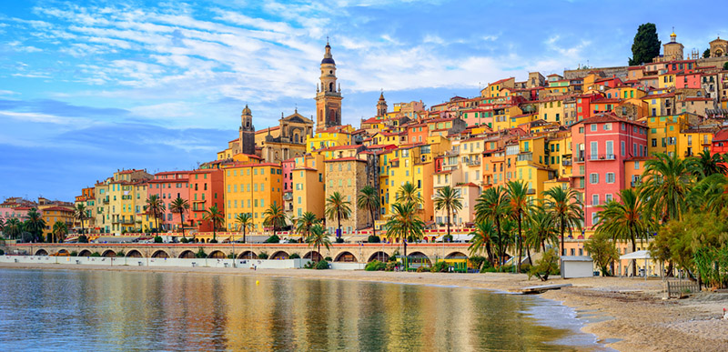 Old town Menton on french Riviera near Nice, France