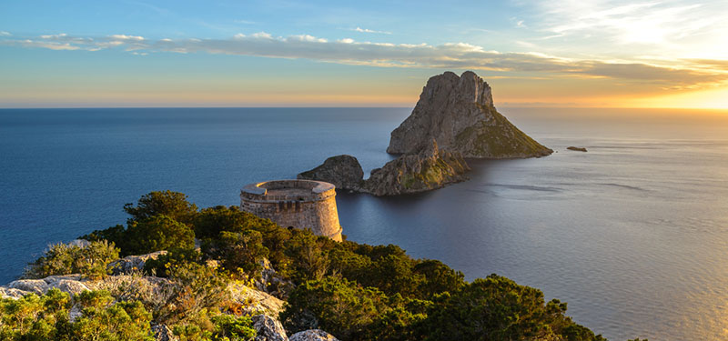 Savinar Tower and Es Vedra island, Ibiza